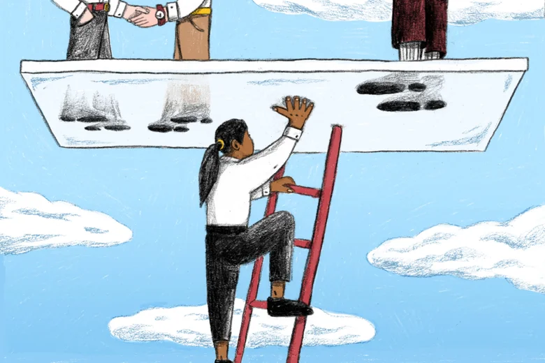 A cartoon of a woman on a ladder underneath a glass ceiling floating in the sky, on which stand three men