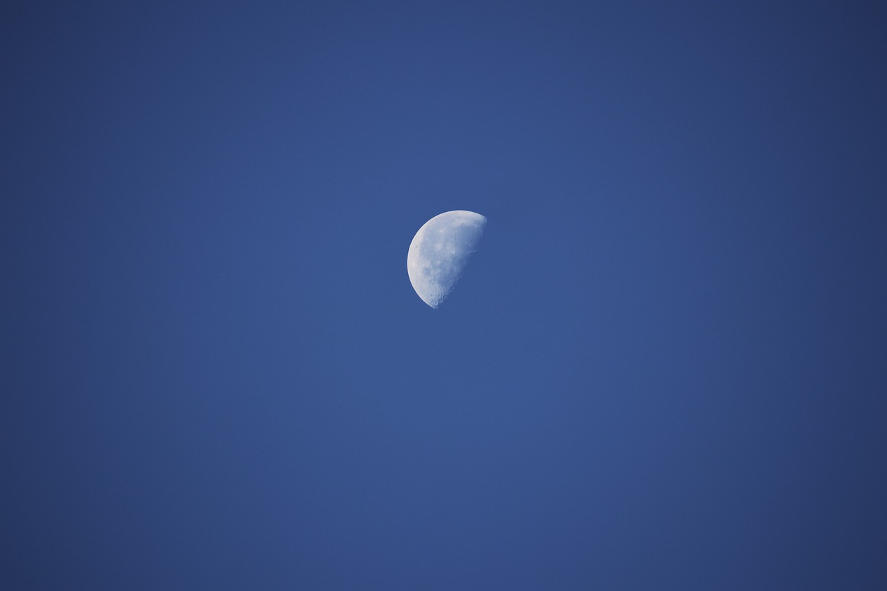 The moon in the last quarter phase of the lunar cycle.