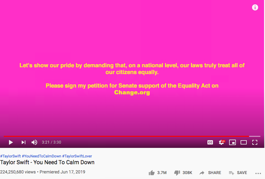 You Need to Calm Down Youtube page