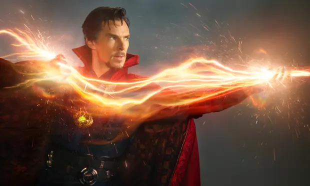 Picture of Doctor Strange portrayed by Benedict Cumberbatch with a orange flash of light coming out of his hands