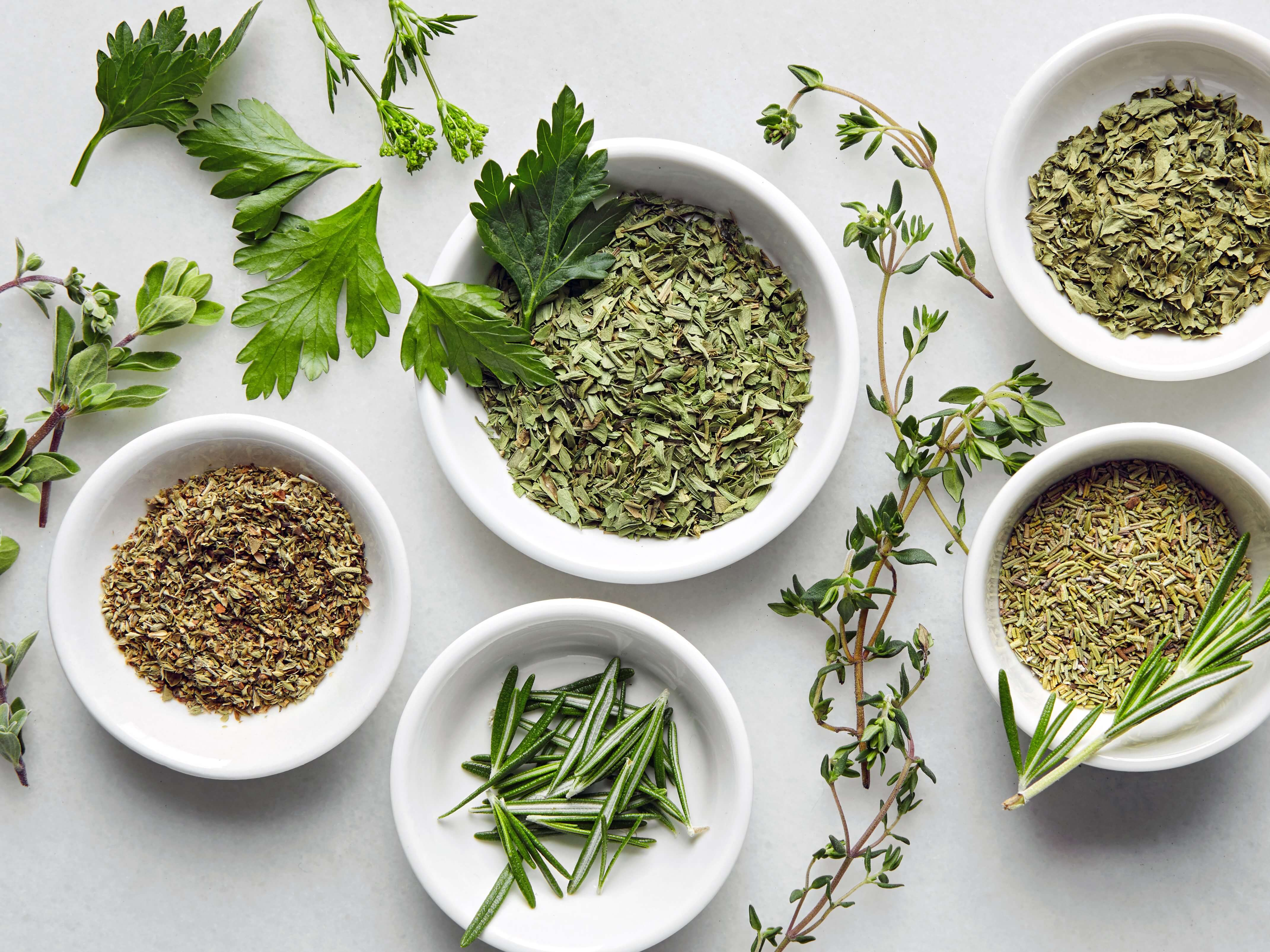 Dry herbs tend to be as healthy as fresh herbs. Image Courtesy of Epicurious.