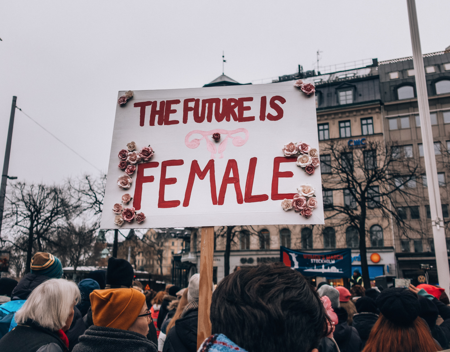 "A feminist rally, featuring a large signs that reads ""THE FUTURE IS FEMALE."" Courtesy of Lindsey LaMont."