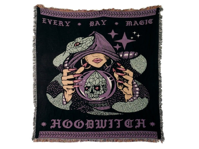 A hooded witch wall tapestry