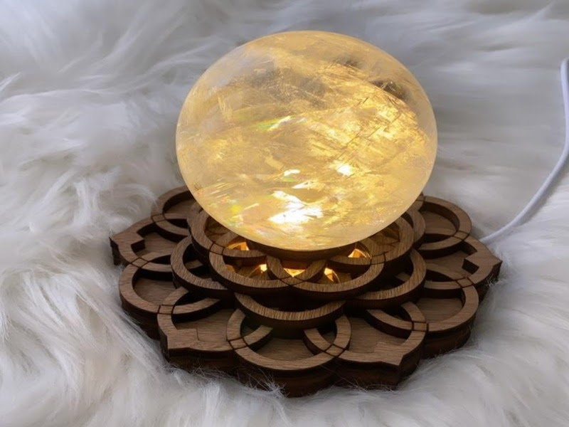 A sphere crystal on top of a LED pedestal
