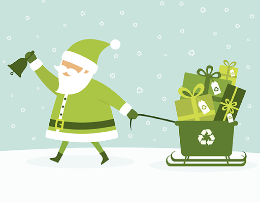 A sustainable Santa pulling his recycling presents.
