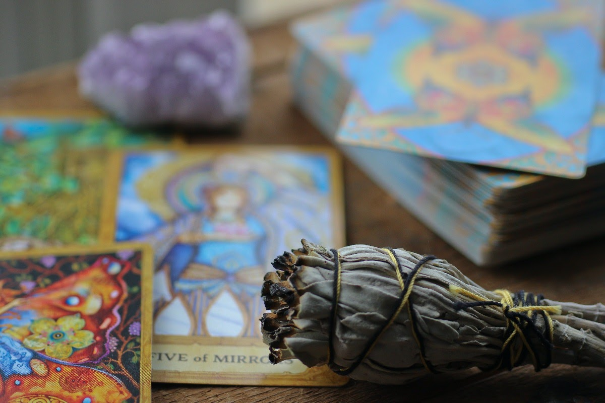 A few tarot cards, an incense, and a crystal