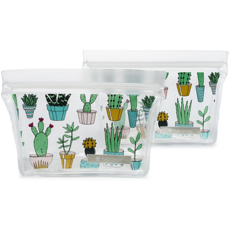Reusable snack bags with cacti drawings