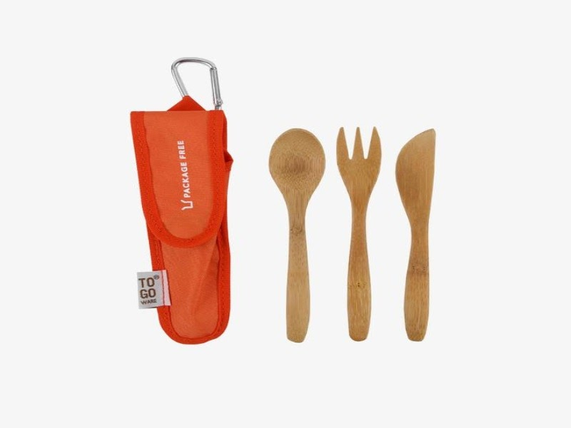 Bamboo cutlery set with fork, knife, and spoon