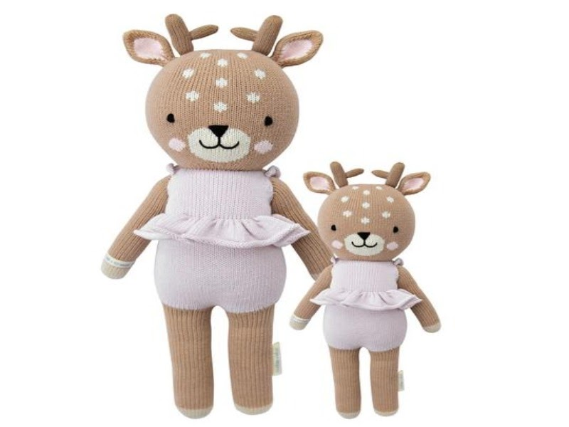 Large and small deer dolls wearing dresses