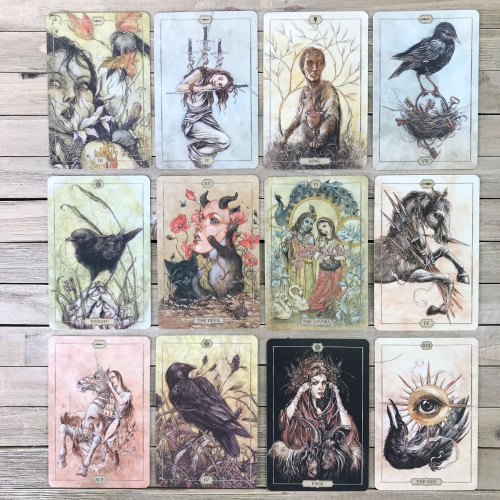 12 tarot cards depicting creatures from the Hush Deck lined up in a rectangle.