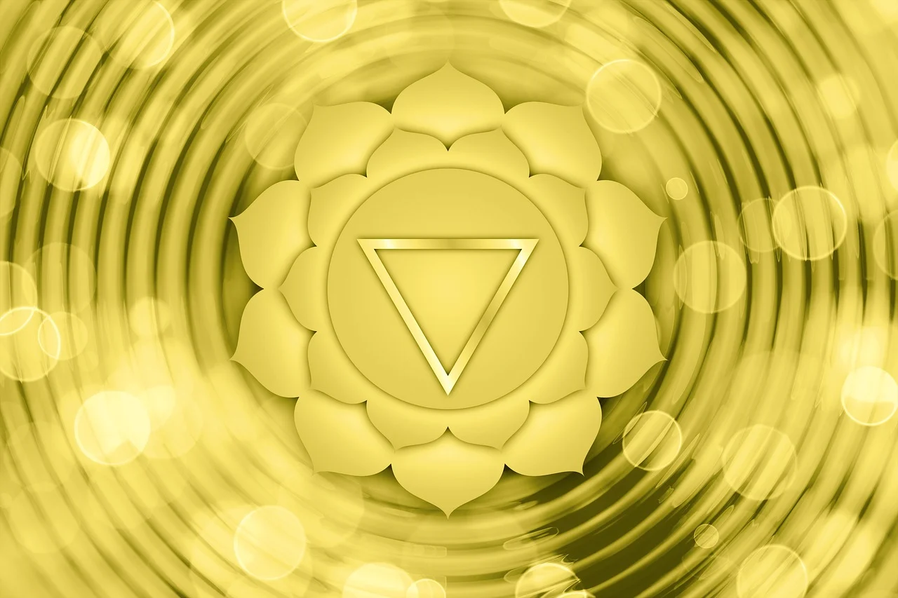 The solar plexus chakra shown n a vibrant yellow, represented by an upside down triangle.i