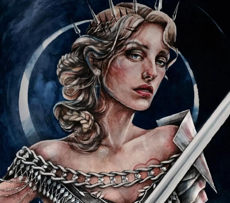 queen of swords tarot card art