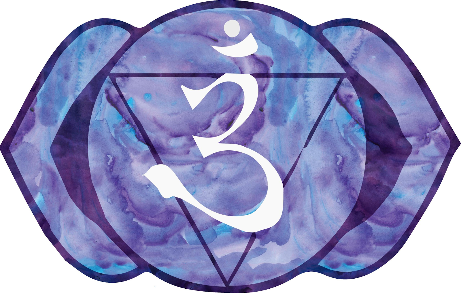 The third eye chakra symbol, an indigo color with an upside down triangle and a three in the middle.