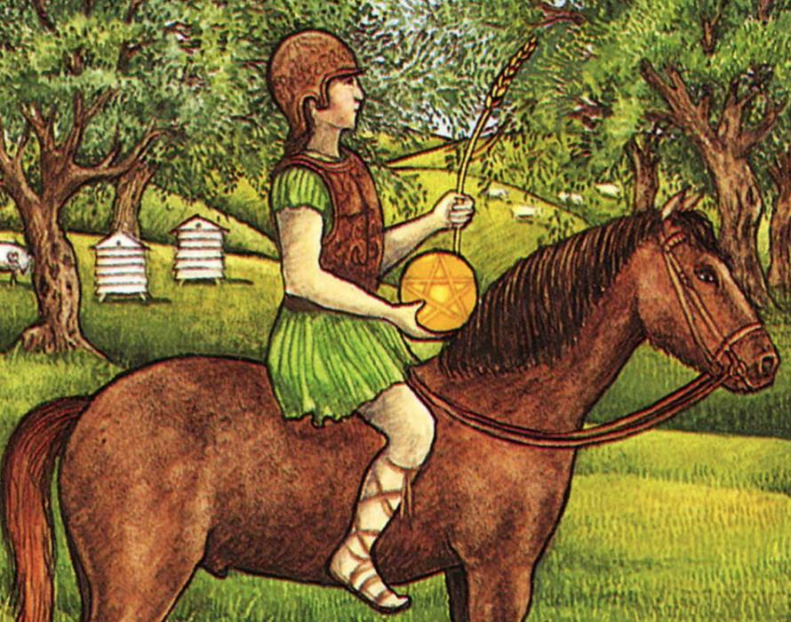 knight of pentacles tarot card art