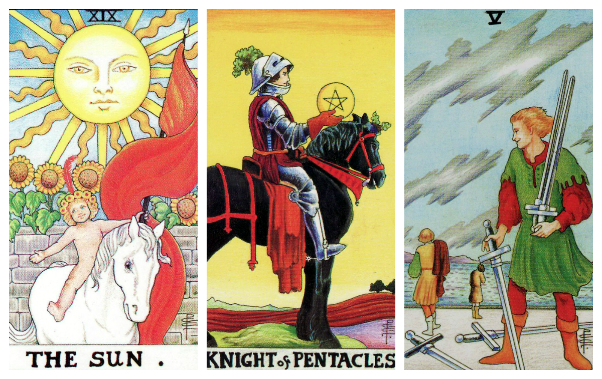 the sun, knight of pentacles and five of swords tarot cards in a reading