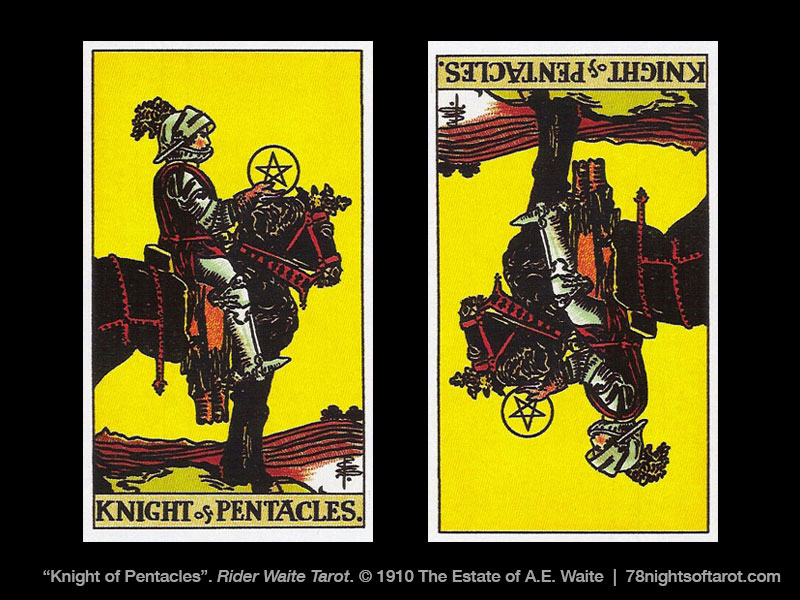 knight of pentacles upright and reversed tarot card
