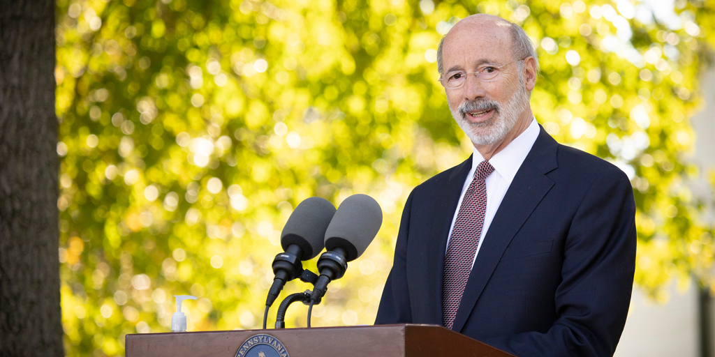 Pennsylvania governor Tom Wolf announcing the state's commitment to solar energy.