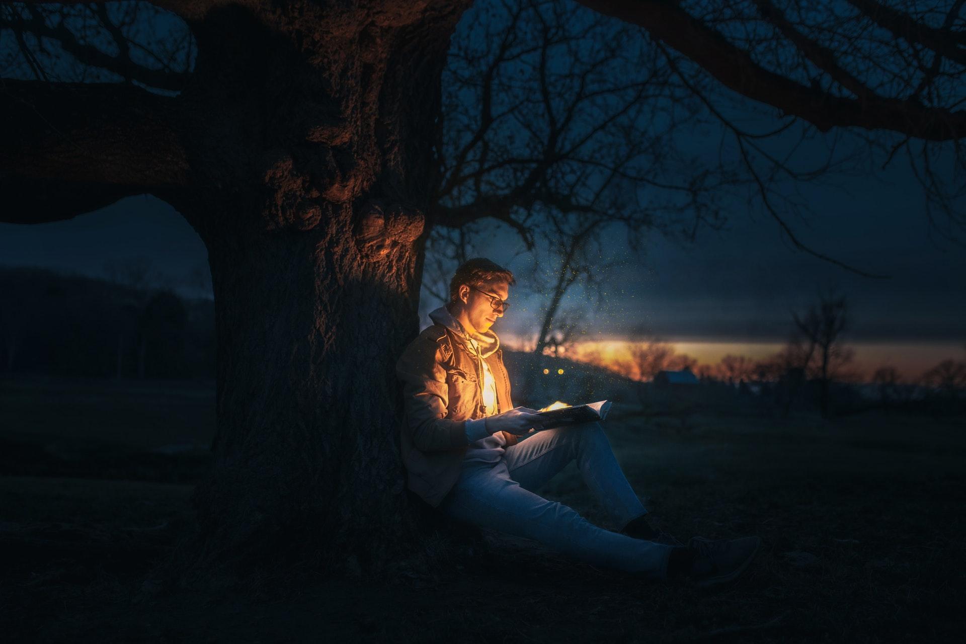 Man reads book under tree.