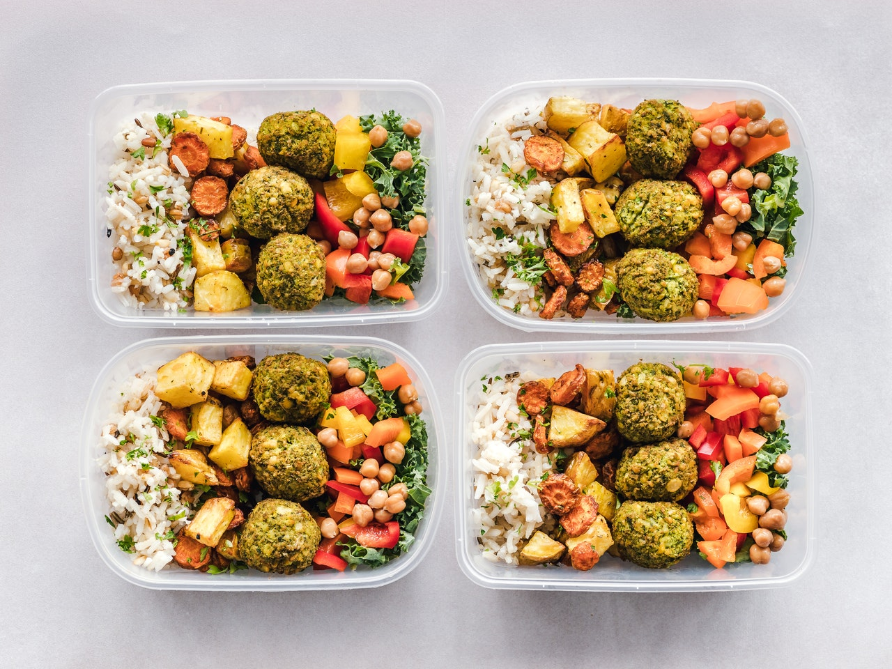 meal prep in plastic reusable containers