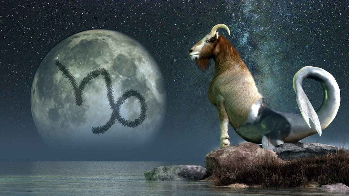 Zodiac image of the Sea Goat looking out at a moon with the Capricorn logo on it.