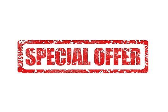 """A red stamp that says """"Special Offer."""""""