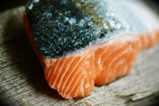 A salmon with the skin on.