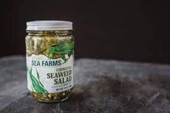 Jar of seaweed salad.