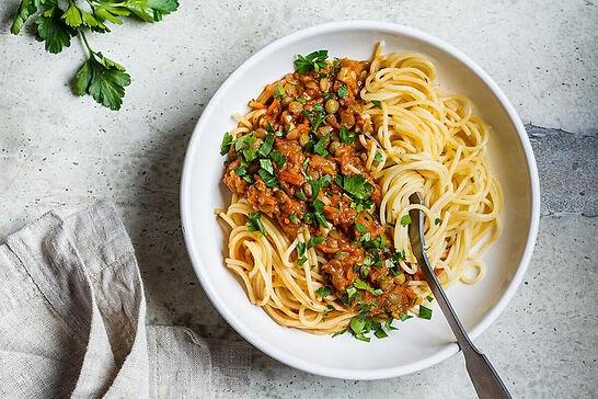 Spaghetti with lentil sauce.