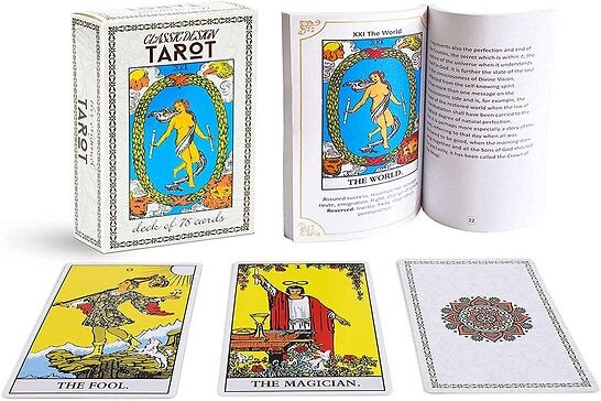 Brightly colored tarot deck with white background.