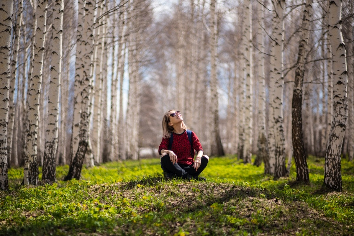 A woman sitting in the grass in between a bunch of trees, looking up at the sky.