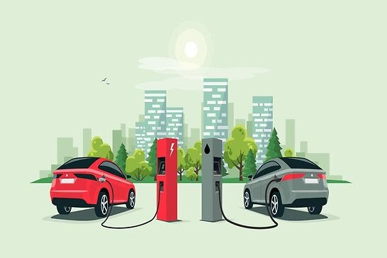 A red cartoon electric car getting fuel next to a silver gas car.