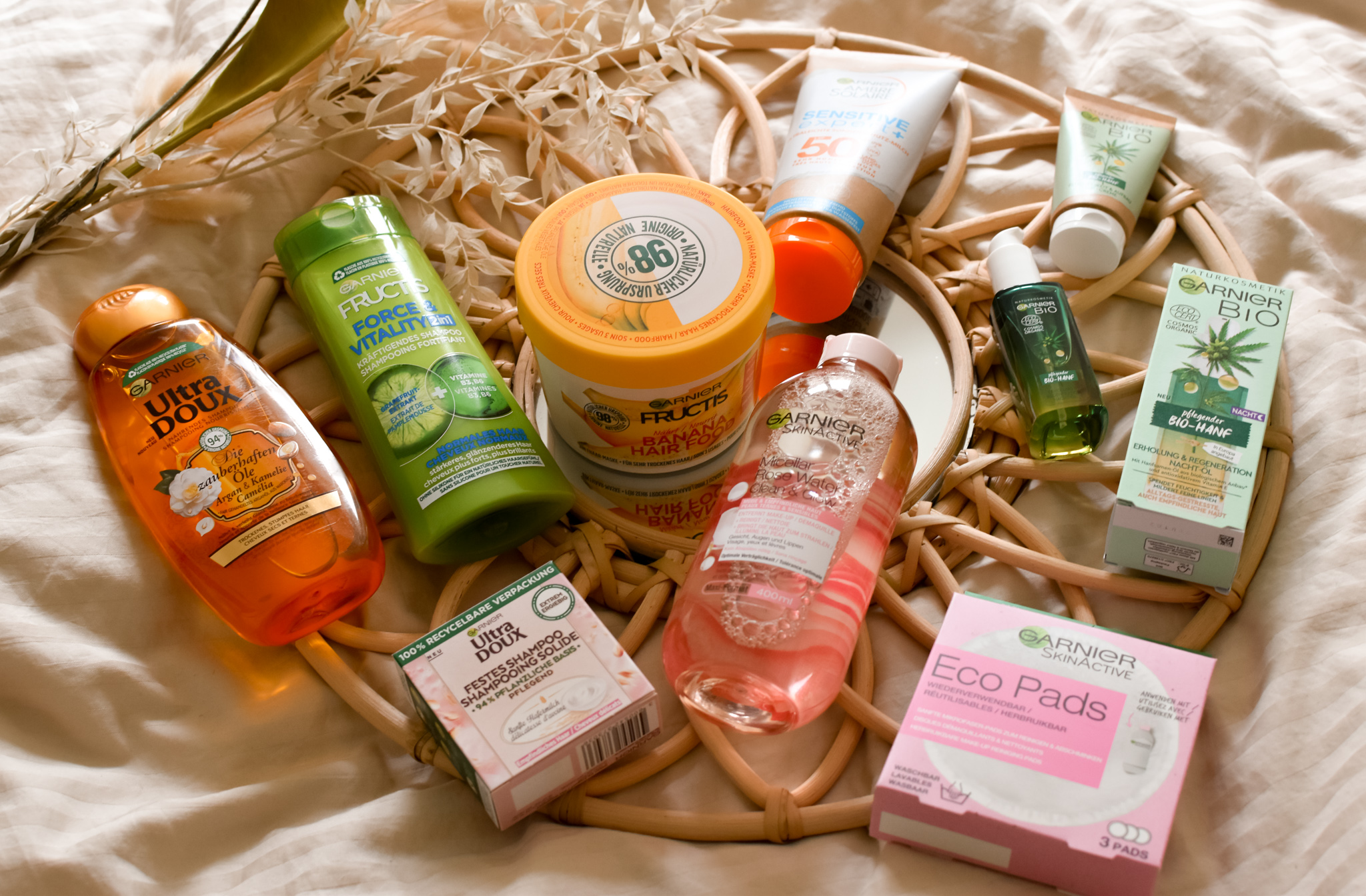 Assorted Garnier beauty products.