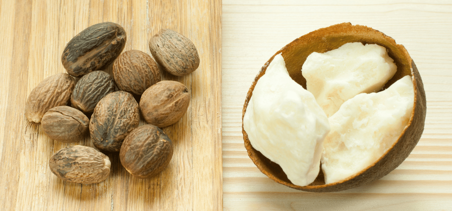 Shea nuts and shea butter side by side.
