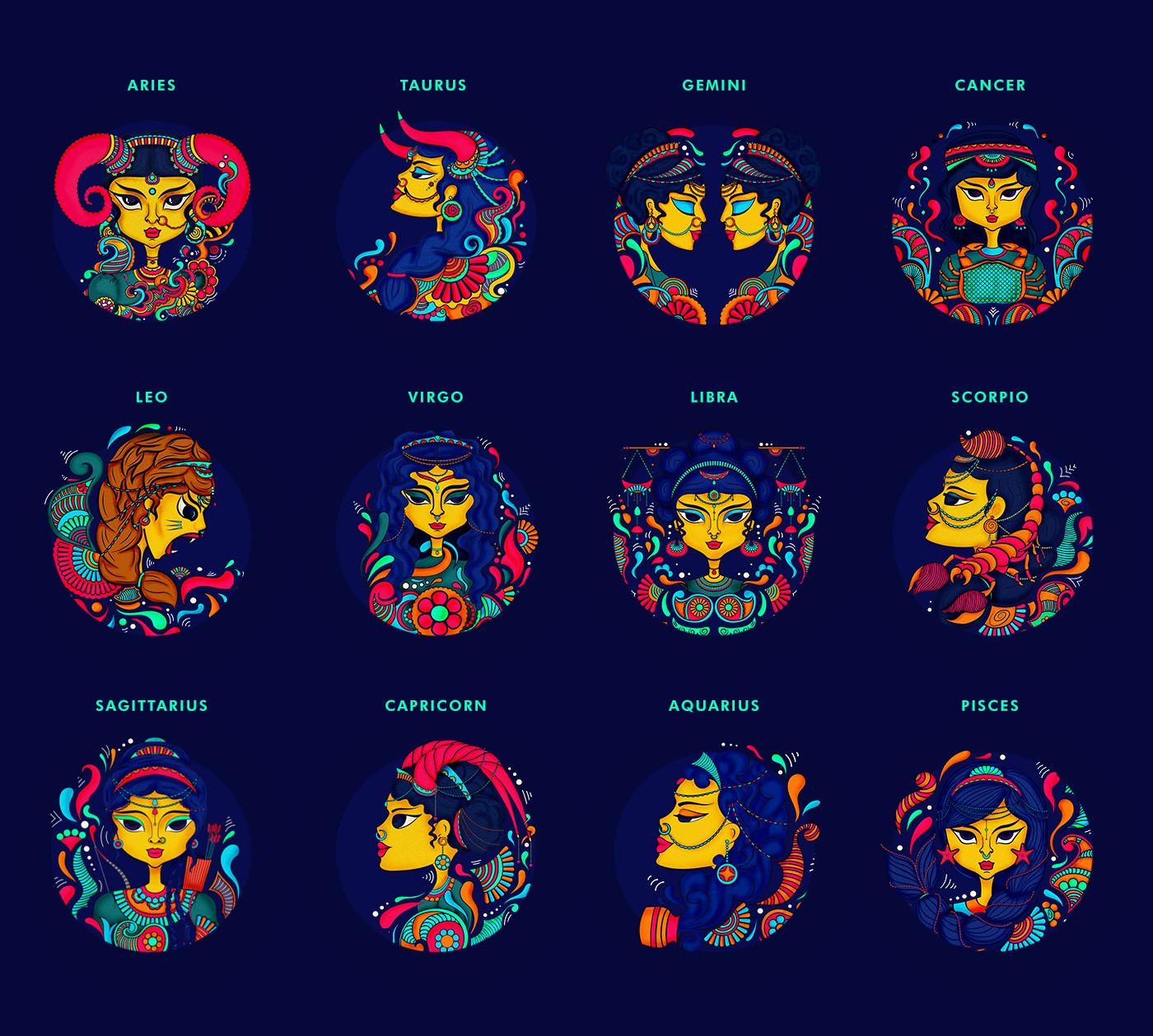 Collage of the zodiac symbols