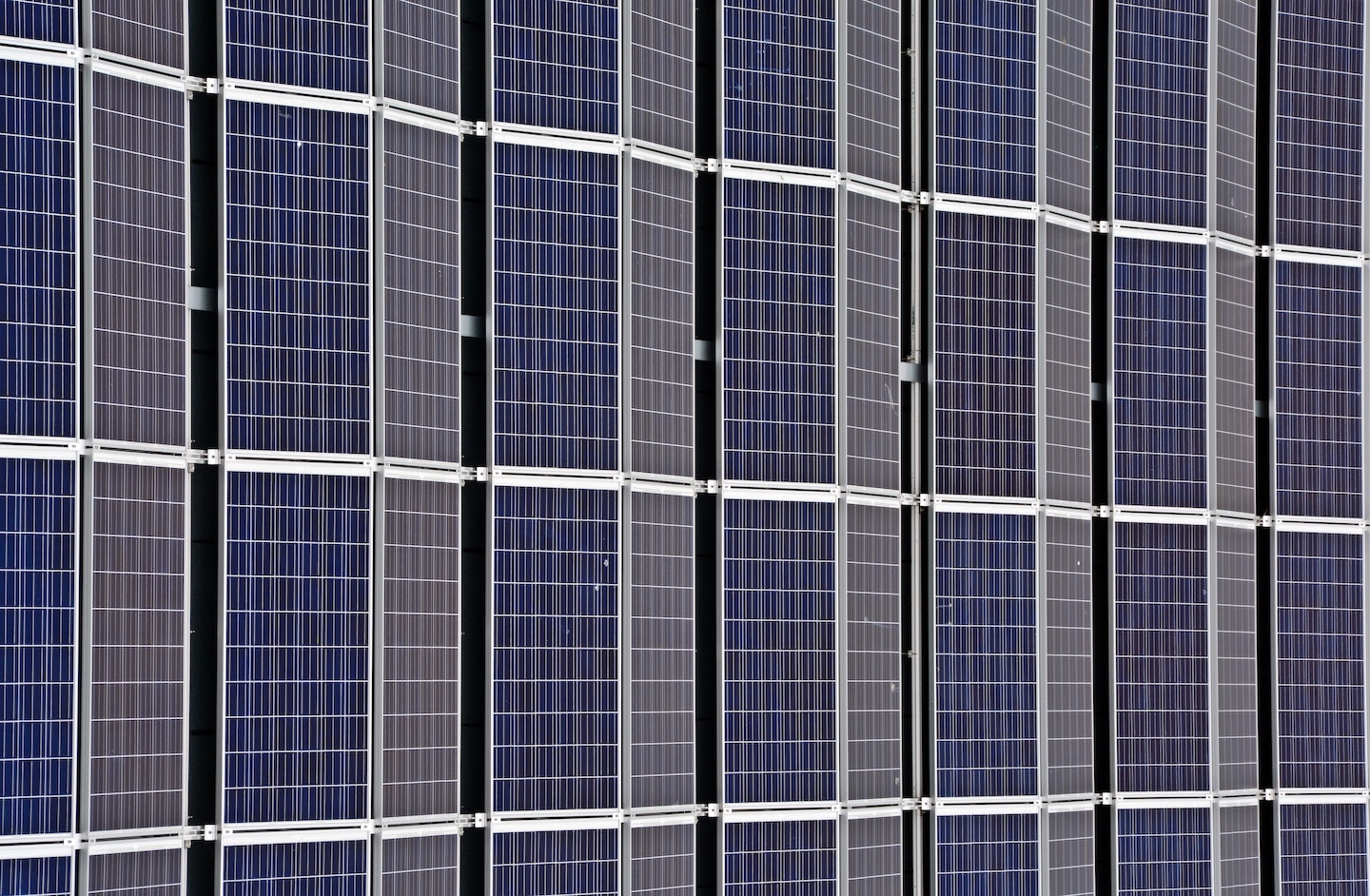 A wall of solar panels