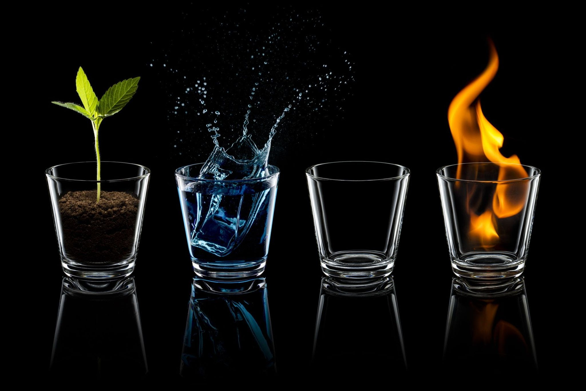 These are the four elements: air, fire, water, and earth. Together, they form the natural world, making each one dependent on each other. Each one has different and distinct traits. Image courtesy of cosmopolitan.com.