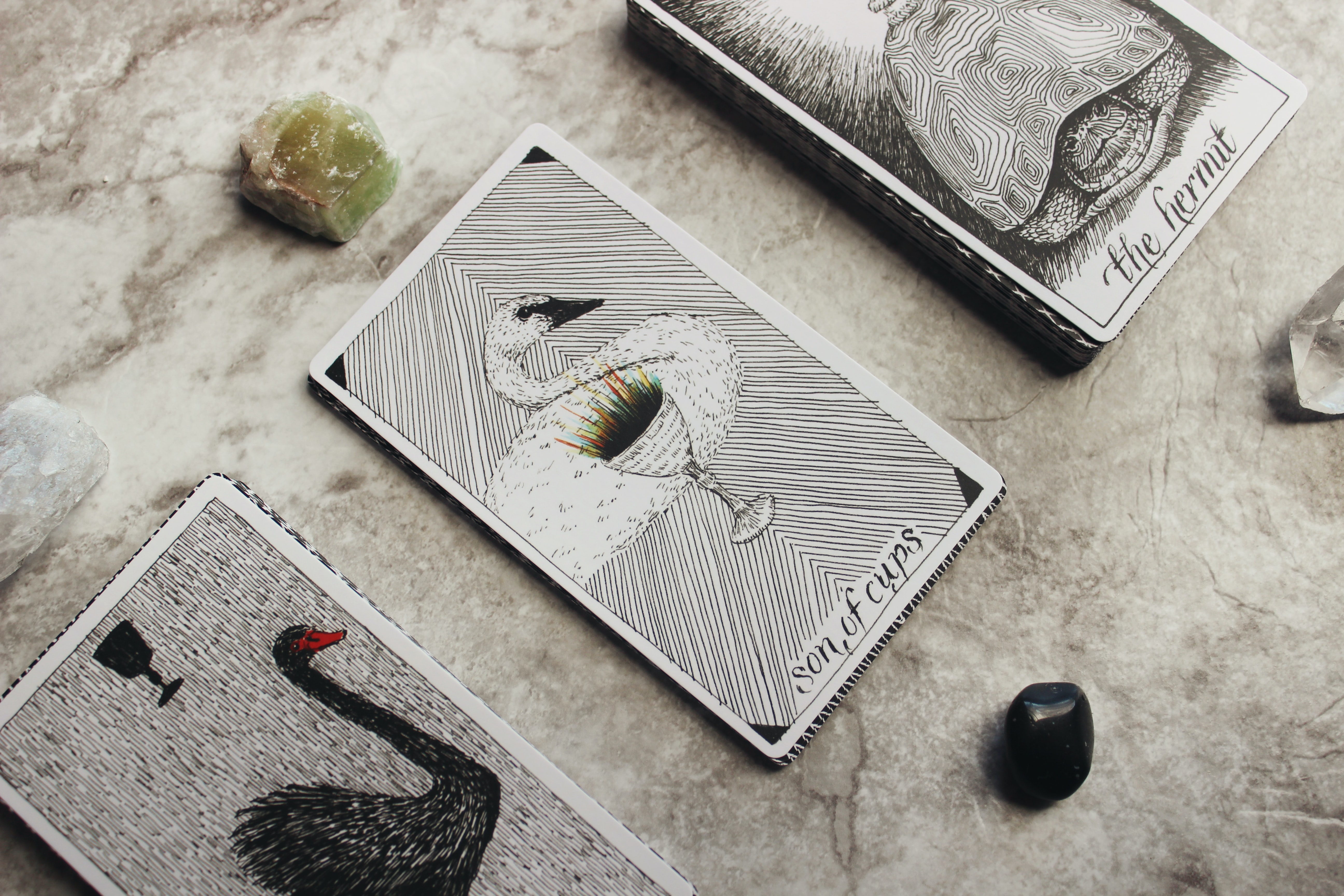 The son of cups and the hermit tarot cards laid on a marble countertop.