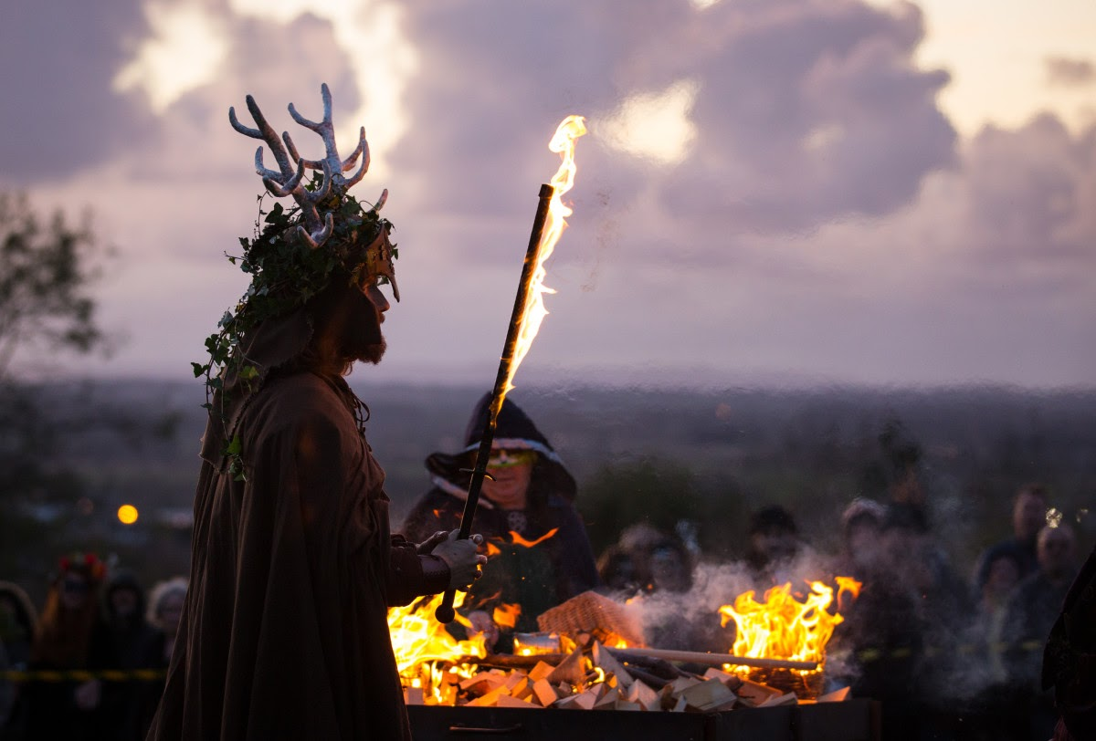 After harvesting was complete, celebrants joined with Druid priests to light a community fire using a wheel, causing friction in the fire, sparking flames. Image courtesy of history.com.