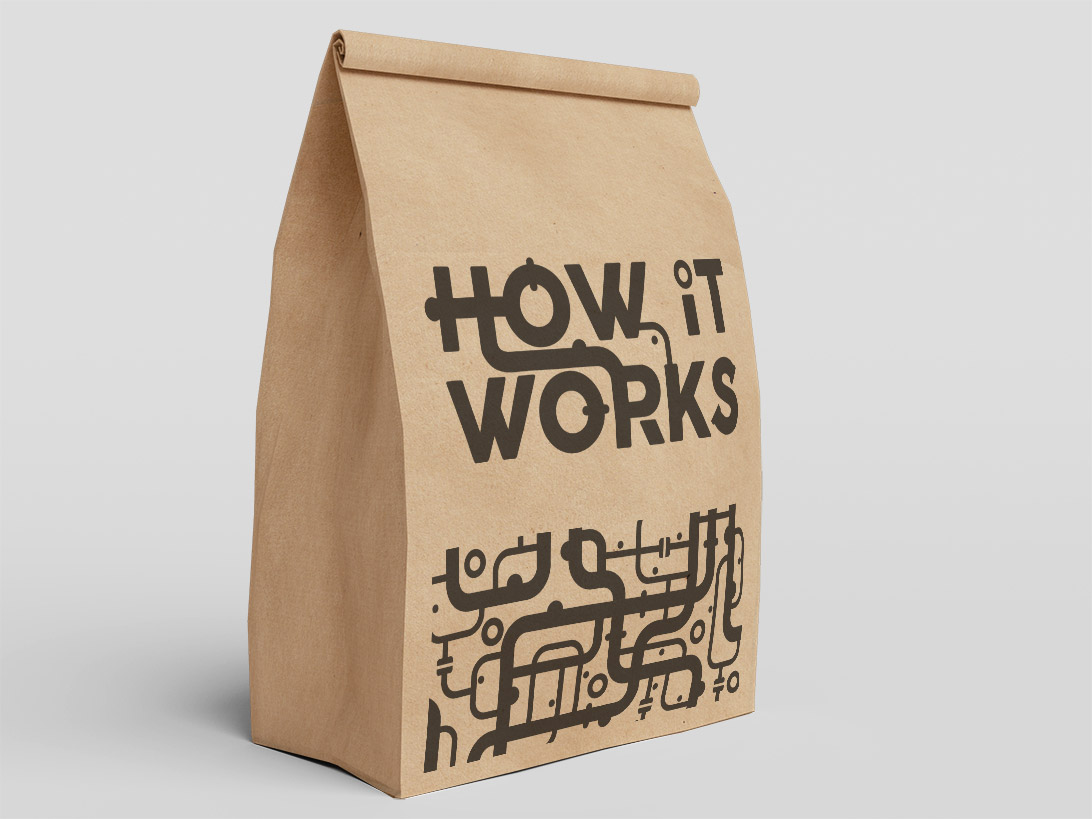 How it Works logo printed on a brown paper bag
