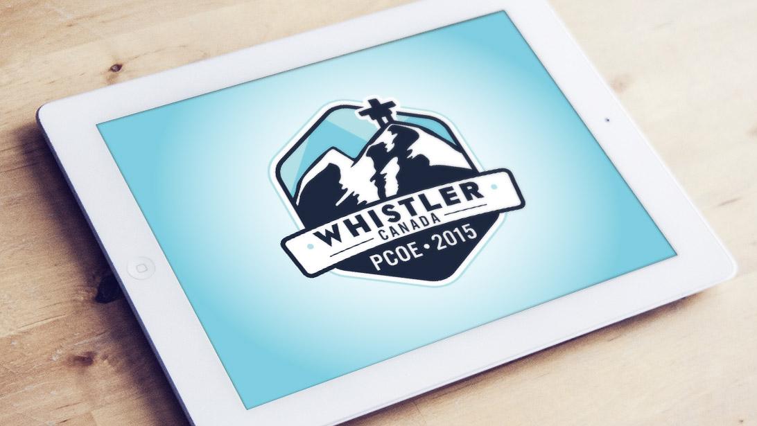 Whistler Canada PCOE 2015 logo showcased on iPad