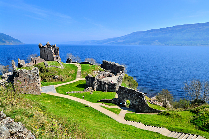 Tour the unique Urquhart Castle ruins at Loch Ness, on your private tour of Scotland
