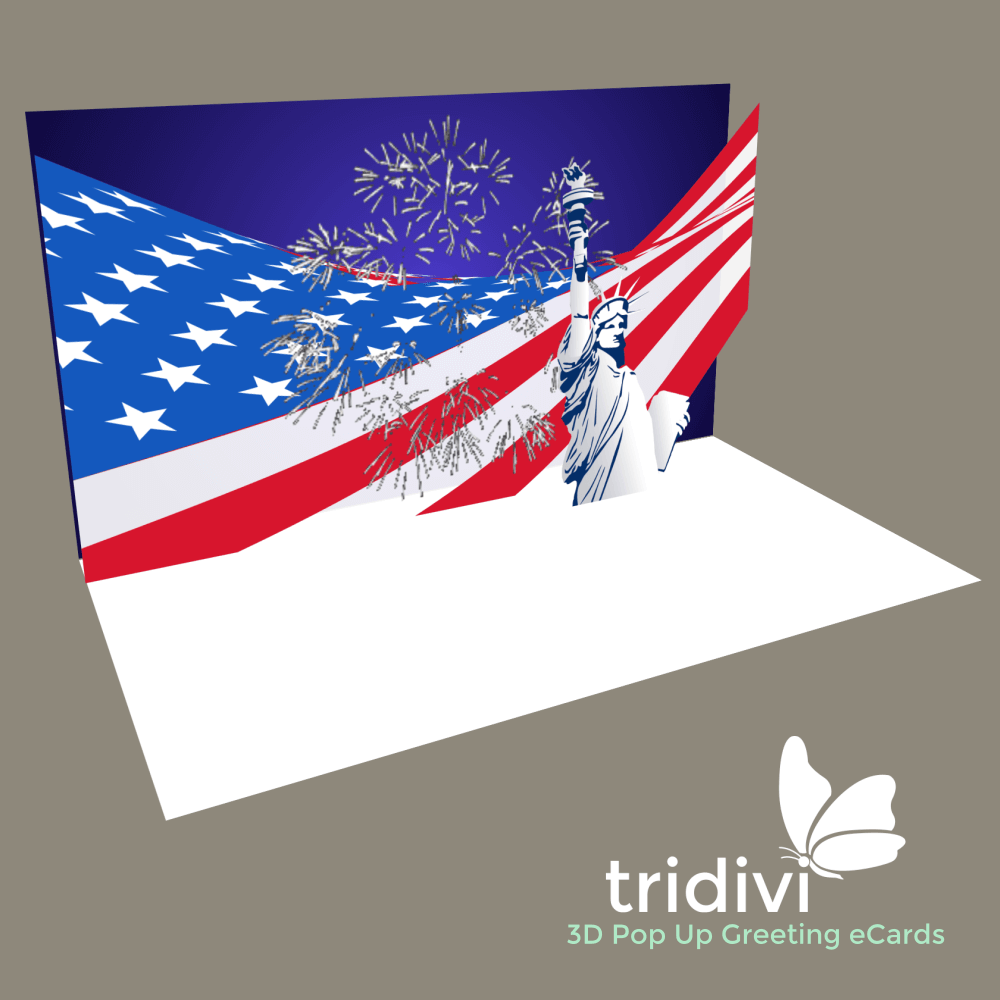 4th of July 3d Pop Up cards and ecards