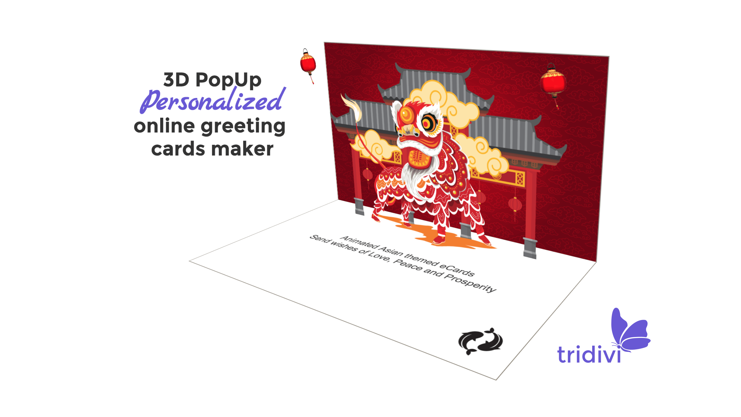 Asian themed online cards Lion Dance, Cherry Blossoms greeting cards