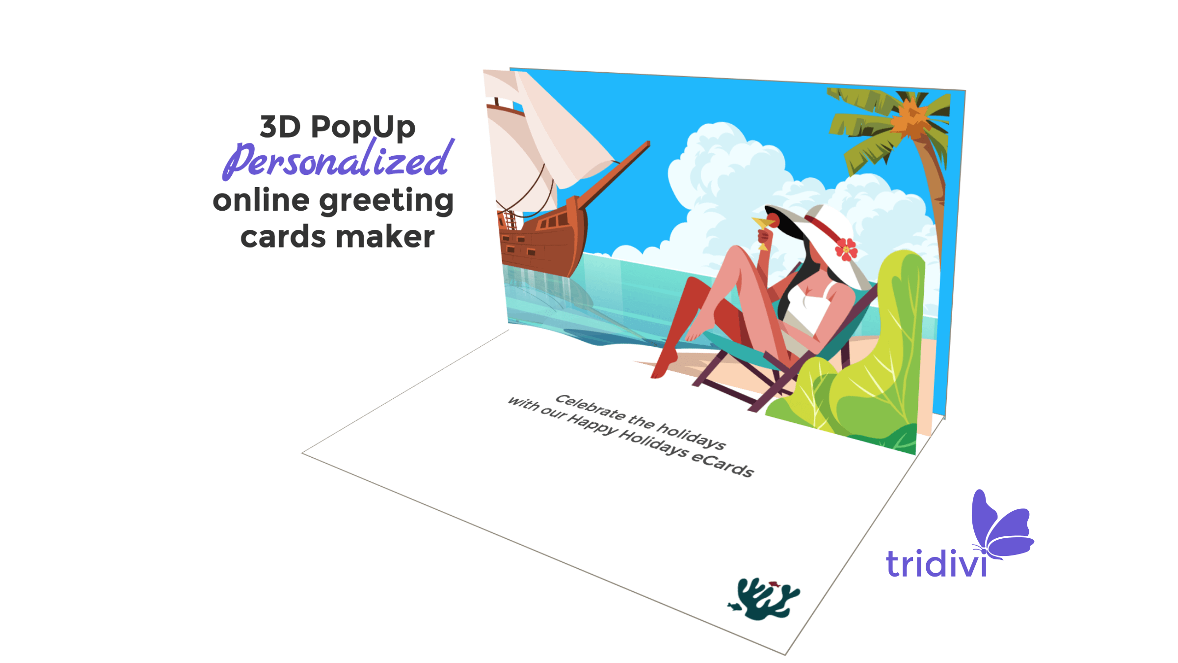 3D Pop Up Tropical Beach Holiday greeting cards and ecards