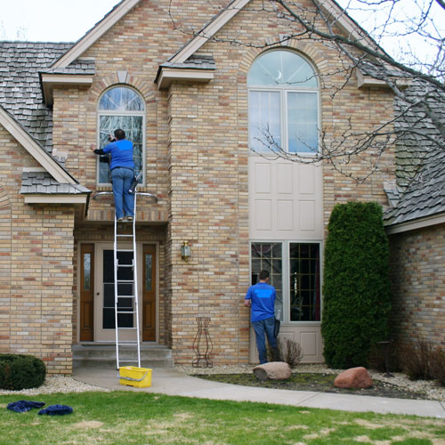 A house in Chesterfield getting windows cleaned.