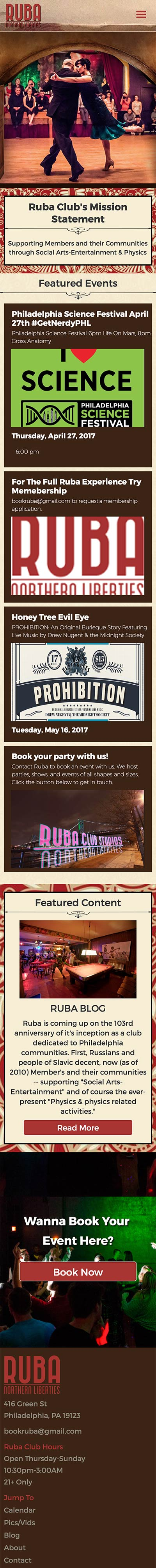 Ruba Club Mobile Website Scroll