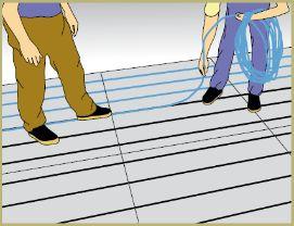 Pose tuyaux plancher chauffant