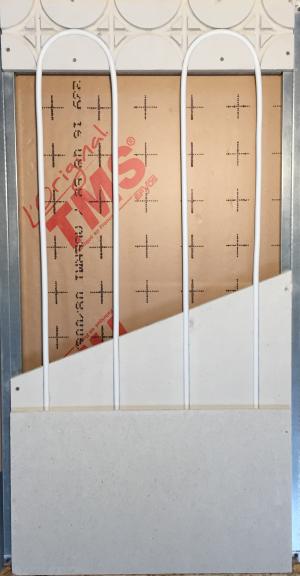 Entre axe de fourrure de 30cm pour cette pose en parallèle pour mur chauffant Caleosol Gypse