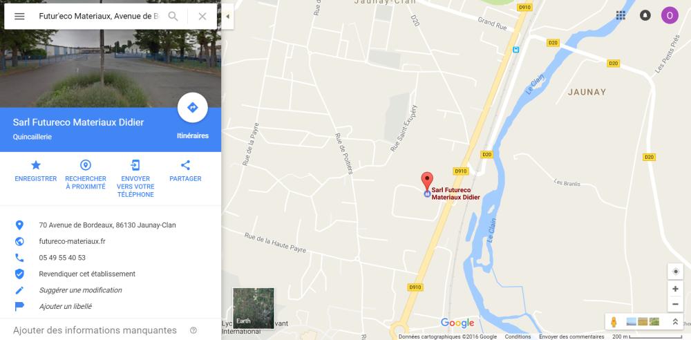 Position du magasin plancher chauffant Furureco Matériaux à Poitiers Jaunay