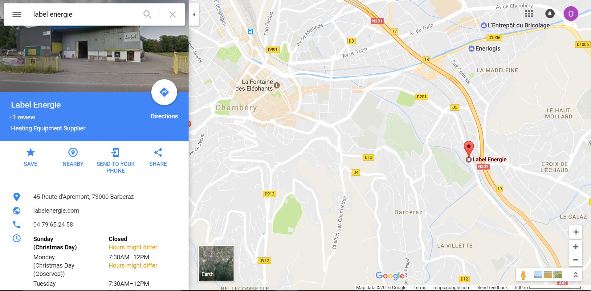 Position du magasin plancher chauffant Label Energie à Chambéry - Barberaz